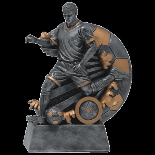 Foci figura ember alakkal és labda háttérrel Figura